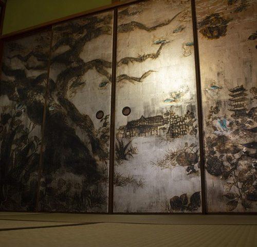 京都ゲストハウス襖絵・絵画